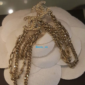 Chanel CC Multi Chain Drop Earrings, Gold.